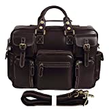 Texbo Men's Oil Polish Leather Multi-Pocket Messenger Shoulder Briefcase Tote Bag