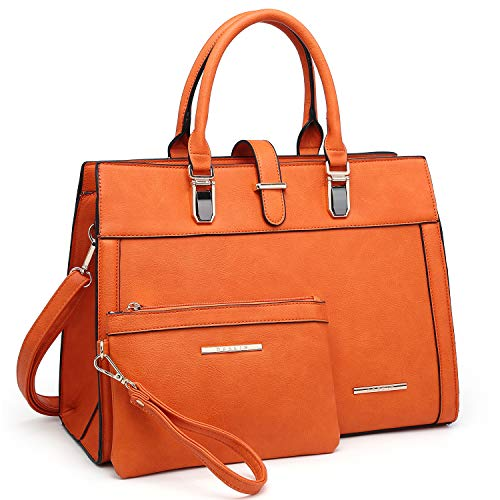Women Satchel Ladies Top Handle Shoulder Bag Work Purse 2 Pieces Set Handbag Faux Leather (Ladies Leather Purse Orange)