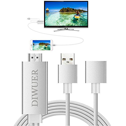 Lightning to HDMI Cable DIWUER iPhone iPad HDMI Cable MHL Cable Lightning Digital AV Adapter HDTV 1080P Cable Plug and Play for iPhone X 8 7 7 Plus 6S 6s Plus 5S 5 5c SE iPad Samsung from DIWUER