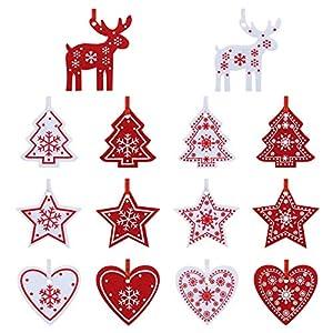 Naler 42 Pezzi di Decorazioni Natalizi in Feltro Ornamenti Appesi di Albero di Natale, Stella, Renna, Cuore Decorazione Natalizia per Casa, Bianco e Rosso 12 spesavip