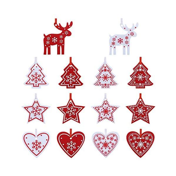 Naler 42 Pezzi di Decorazioni Natalizi in Feltro Ornamenti Appesi di Albero di Natale, Stella, Renna, Cuore Decorazione Natalizia per Casa, Bianco e Rosso 1 spesavip