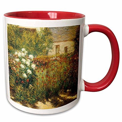 3dRose BLN Impressionist Fine Art Collection - Garden at Giverny by John Leslie Breck - 15oz Two-Tone Red Mug (mug_127308_10)