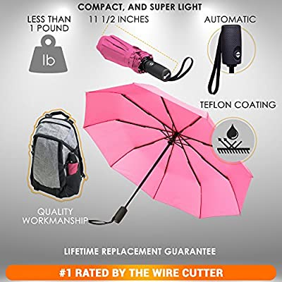 Repel Windproof Travel Umbrella with Teflon Coating (Pink)