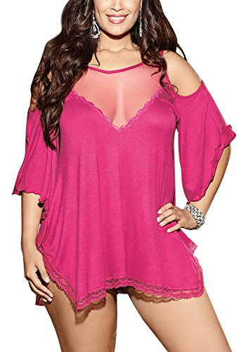Cute Plus Size Loungewear Lace Trim Sleepshirt for