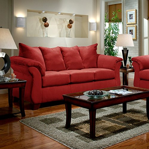 Roundhill Furniture Sensations Microfiber Pillow Back Sofa and Loveseat Set, Red