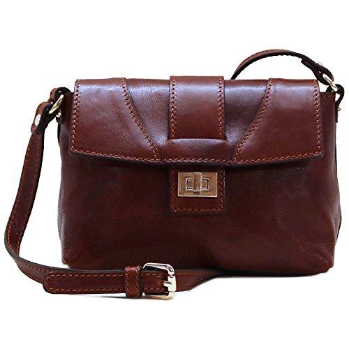 - Floto Sapri Cross Body Bag in Brown Leather