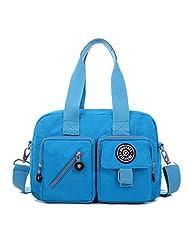 TianHengYi Girls Pure Color Lightweight Nylon Top Handle Handbag Crossbody Satchel with Zipper Pockets