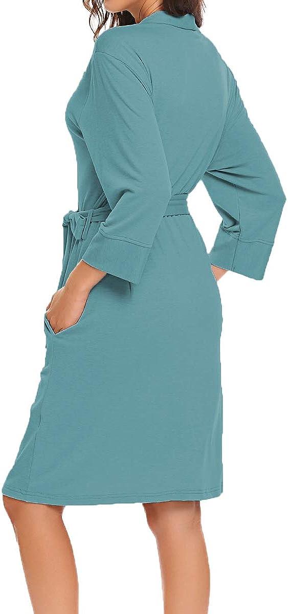 Bluetime Women Robe Soft Kimono Robes Cotton Bathrobe Sleepwear Loungewear Short