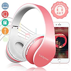 Wireless Bluetooth Headphones Over Ear, Headsets On Ear Stereo Earphone Built-In Mic Folding Lightweight Headphones For Girls Women Kids Wired/Wireless Mode For TV Iphone Android Cell phone Laptop PC