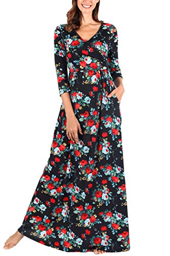 Comila Long Dress with Flutter Sleeves, Bohemian Floral Print Maxi Dress Petite Summer V Neck Wrap Long Dress Empire Waist Slimming Flattering A Line Dress Black/Red/Green L (US 12-14)