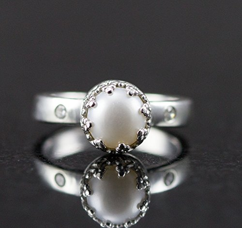 Sterling Pearl and Diamond Engagement Ring - Genuine Diamond or Moissanite Accents by All Wired Up Jewelry Designs