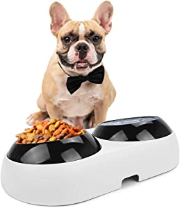 Slanted Dog Bowl for Bulldogs,Double Elevated Pet Food Water Bowls for Flat-Faced Dogs & Cats,BPA Free 15° Tilted Raised Plastic Feeding Bowls,Non-Skid Slope Base Stand & Non-Spill Pet Feeder Dish