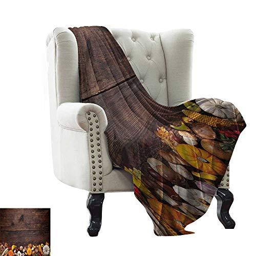 Anyangeight Harvest,Custom Design Cozy Flannel Blanket,Harvest Food on Dark Colored Wooden Table Autumn Vegetables Corn Pumpkin 70