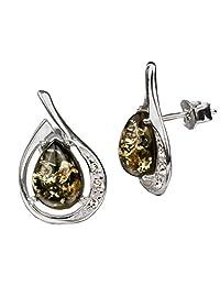 Sterling Silver Green Amber Drop Cut Stud Earrings