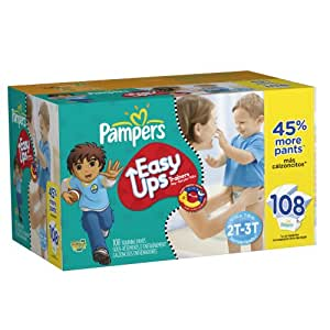 Pampers Easy Ups Trainers for Boys Value Pack, 108 Count,Size 4 (2T-3T)