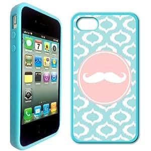 Be A Cheerl Fleur De Grow A Mustache Aqua-Ikat-Cute-Hipster Aqua Silicon Bumper iPhone 4 Case Fits iPhone 4 & iPhone 4S
