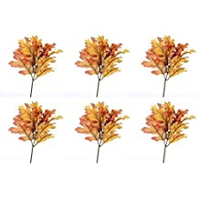 Package of 6 Vibrant Fall Inspired Artificial Silk Oak Leaf Pick with Autumn Berries.
