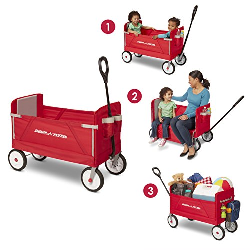 51CpsFA3CXL - Radio Flyer 3-in-1 EZ Folding Wagon for kids and cargo