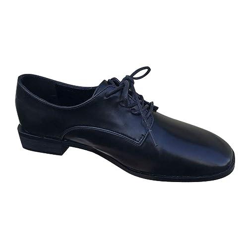 Gtagain Trabajo Uniforme Oxfords Cordones - Zapatos Mocasines Mujer Vestir Casual Sandalias de Punta Cuadrada Verano Fondo Plano Retro Zapatos Suaves: ...
