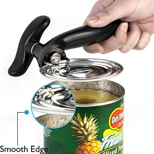 Gelindo Smooth Edge Can Opener - Contamination Free Side Opening - Heavy Duty Rustproof Stainless Steel - Safest Lid Remover- Great for Kitchen Use/ Camping/ Travel (Black)