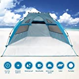 Beach Tent Pop Up Sun Shelter UPF 50+ Sun Protection Polyester Tent Extend Size 94''x78''