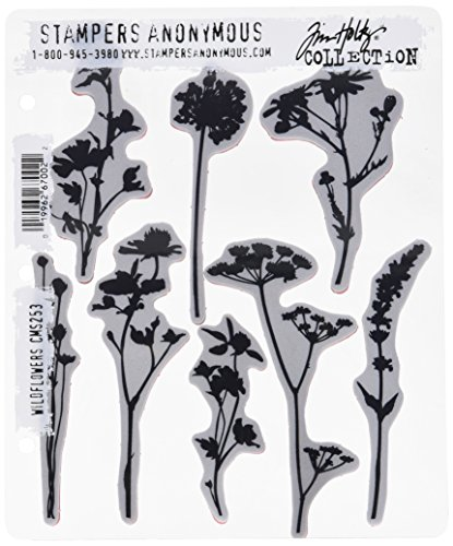 Stampers Anonymous CMS253 Wildflowers Tim Holtz Cling Stamps, 7'' by 8.5'', Clear by Stampers Anonymous