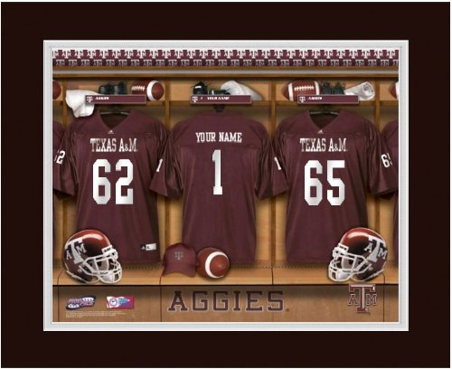 NCAA Locker Room Print Texas A & M Personalized (Texas A&m Locker Room)