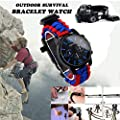Glumes Survival Bracelet Watch, Survival Paracord Bracelet, Survival Gear Kit Emergency Knife, Whistle, Compass, Fire Starter for Camping, Climbing, Waterproof Gift for Boys