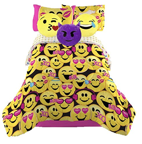 Emoji Girls Complete Bedding Set with (3) Plush Pillows - Twin by Emojination