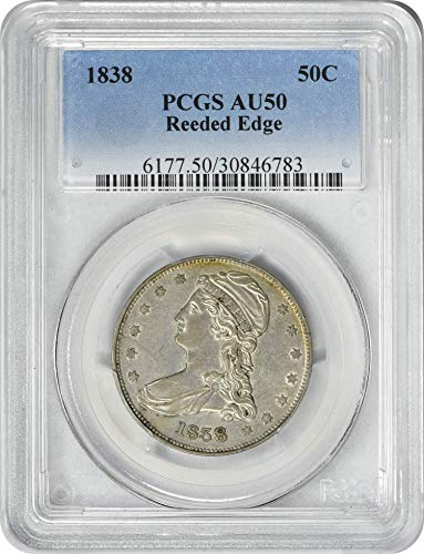 1838 Bust Reeded Edge Half Dollar AU50 PCGS
