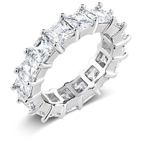 Gem Stone King Rhodium Plated Brass Eternity Wedding Band Ring with White Princess Cut - Cut Radiant Eternity Band