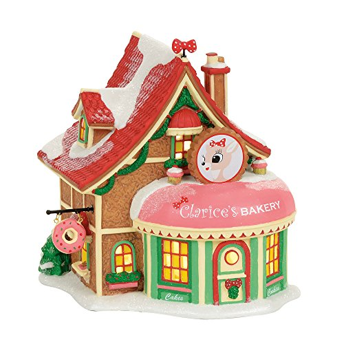 Department 56 Village Rudolph the Red-Nosed Reindeer Clarice's North Pole Bakery Lit Building, Multicolor by Department 56