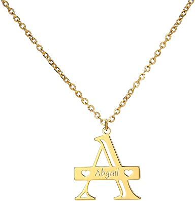 MANZHEN Custom Initial Necklace 100 Languages I Love You A-Z 26 Letters Alphabet Pendant Necklace Personalized for Women Girls