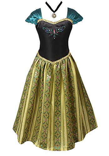 American Vogue Girls Princess Anna Elsa Coronation Dress Costume with Choker Necklace