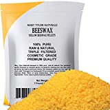 Organic Yellow Beeswax Pellets 1lb (453 g) Premium Quality, Cosmetic Grade, Triple Filtered Bees Wax Pellets Great for DIY Lip Balm Recipes Body Creams Lotions Deodorants By Mary Tylor Naturals