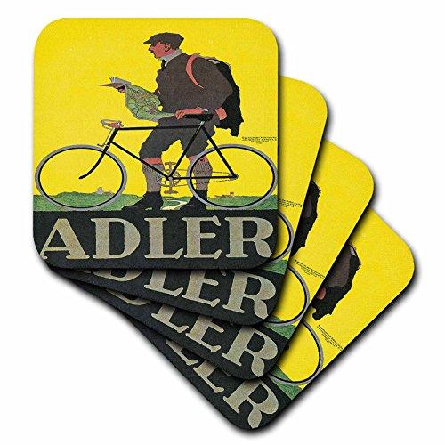 3dRose cst_153246_2 Alder Frankfurt Germany Bicycle Advertising Poster-Soft Coasters, Set of ()