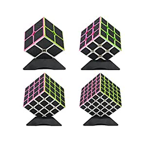 Wings of wind - Carbon Fiber Stickers Magic Cube Ultra-Smooth Magic Puzzle Cube Colorized Sticker Cube (2x2+3x3+4x4+5x5)