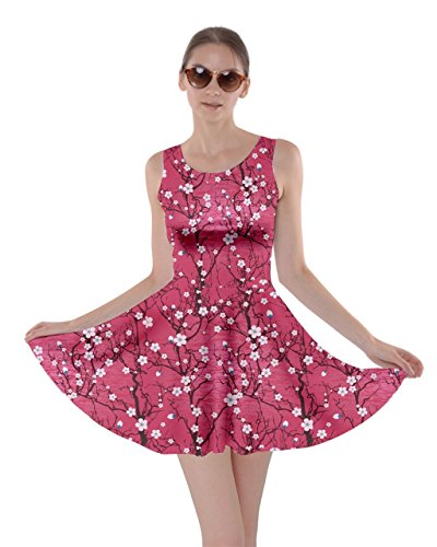 - CowCow Hot Pink Cherry Blossom Tree Pattern Skater Dress, Hot Pink - 2XL