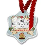 Add Your Own Custom Name, Happy Floral Border College Student Christmas Ornament NEONBLOND