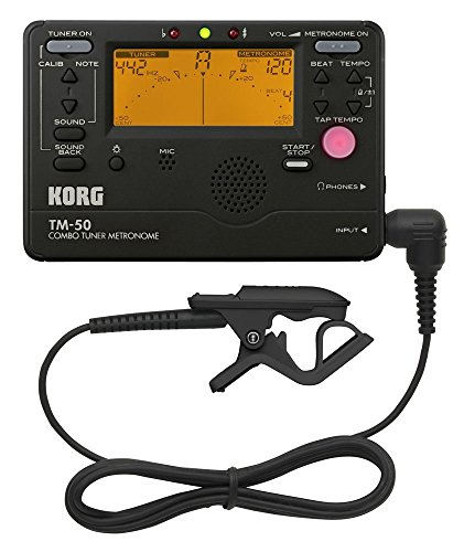 Korg TM50BK Tuner and Metronome Combo with Clip on Microphone (Black) (Korg Guitar Tuner And Metronome)