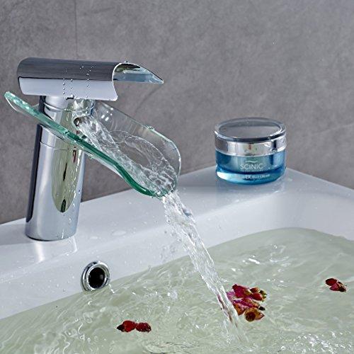 Auralum® Armatur Glas Badarmaturen Wasserfall Mischbatterie Wasserhahn