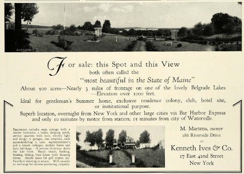 1931 Ad Kenneth Ives Belgrade Lakes Maine Real Estate M. Martens Home Realty - Original Print Ad