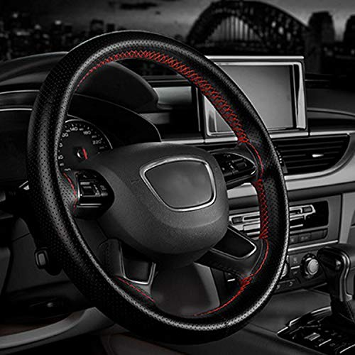 Swordsman New 4 Color DIY Texture Soft Auto Car Steering Wheel Cover with Needles and Thread Artificial Leather Car Covers Hot Car-Styling,red Wire (Hubcap Wire)