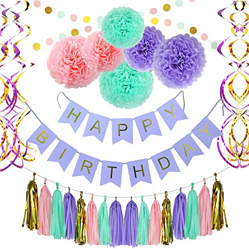Paper Doll Garland - Birthday Party Decoration Party Supplies, Party Decors and Sets, Including Happy Birthday Banner, Paper Tassels, Paper Pom Pom, Dot Paper Garland and Swirls