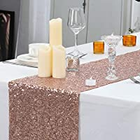 """PartyDelight 12"""" X 72"""" Rose Gold Sequin Table Runner for Wedding, Party, Bridal Baby Shower, Christmas."""