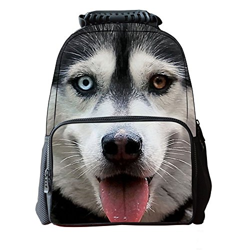 Skymoon Children's 3D Animal School Backpacks (16 Inch,Wolfhound)