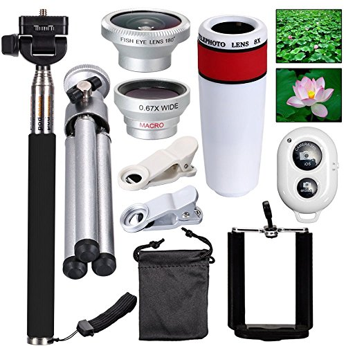 AnKooK 10-in-1 Camera Lens Kit 8x Telescope Lens + Macro Lens + Selfie Stick Monopod + Bluetooth Remote Control + Mini Tripod for Iphone Samsung Galaxy Edge Note 2 3 4 HTC and Smartphones SMT011W