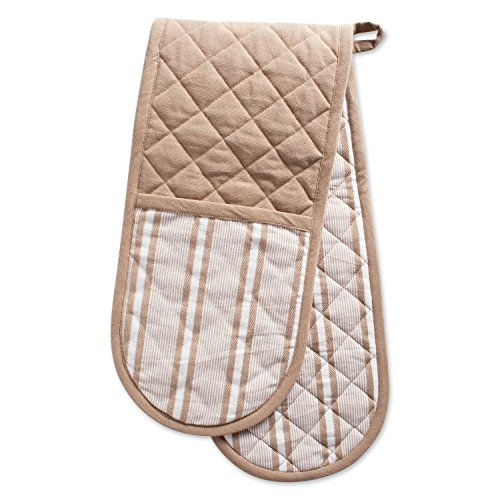 DII Cotton Stripe Quilted Double Oven Mitt, 35 x 7.5, Machine Washable and Heat Resistant Kitchen Moppine for Everyday Cooking and Baking-Stone Taupe