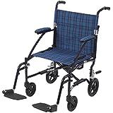 Drive Medical Fly Lite Ultra Lightweight Transport Wheelchair, Blue Frame, 17 lbs