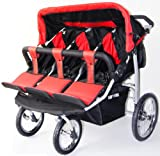 Red and Black Triple Trio Baby Jogger Stroller with Rain Canopy – Free Matching Carry Bag, Baby & Kids Zone